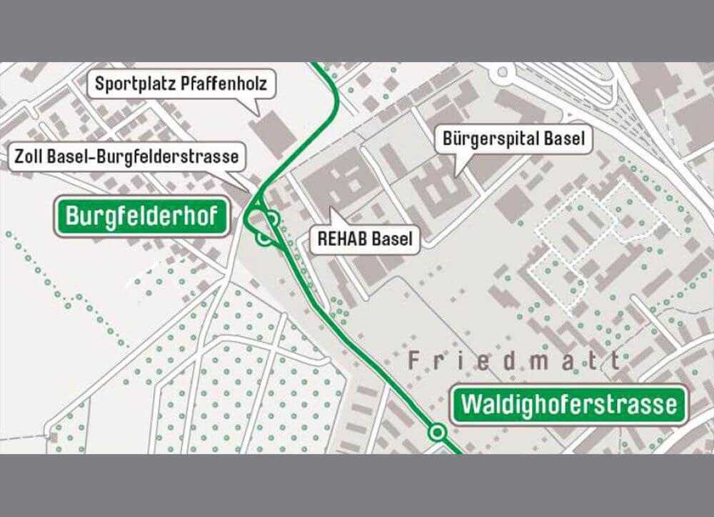 Burgfelderstrasse BS / Kreuzung Schiene Strasse