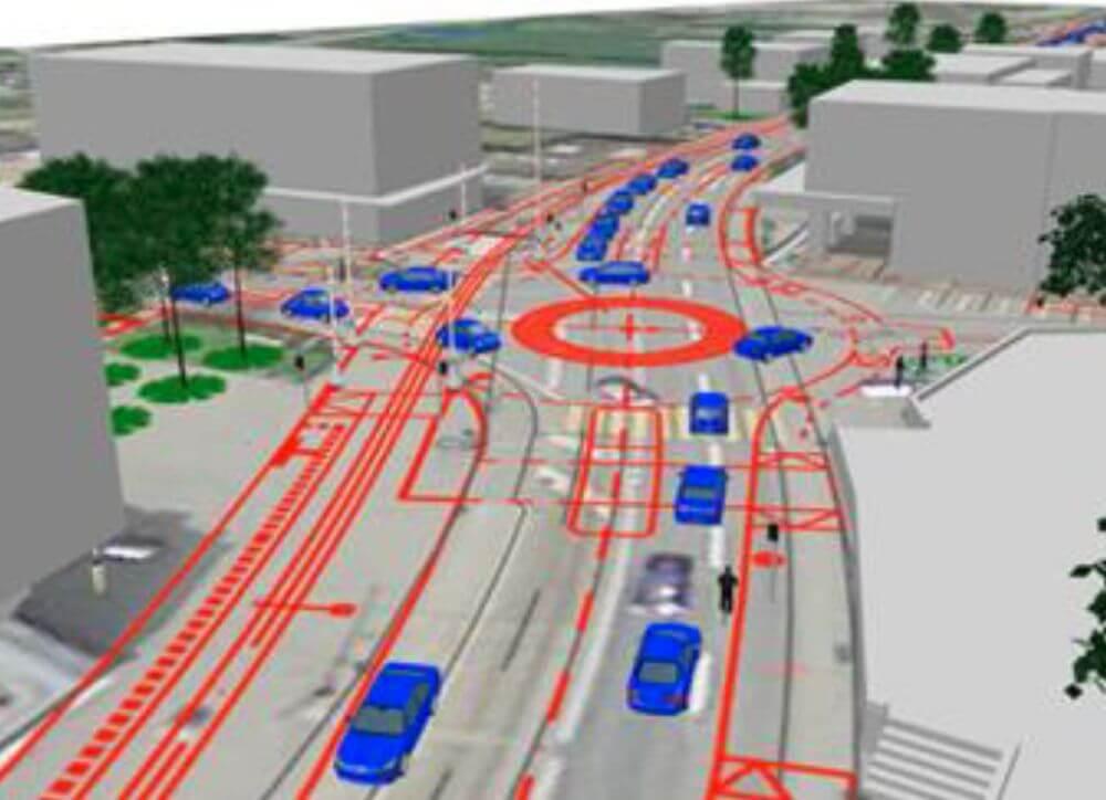Simulation Kreisel (AP) 2030, Unterkulm / VISSIM