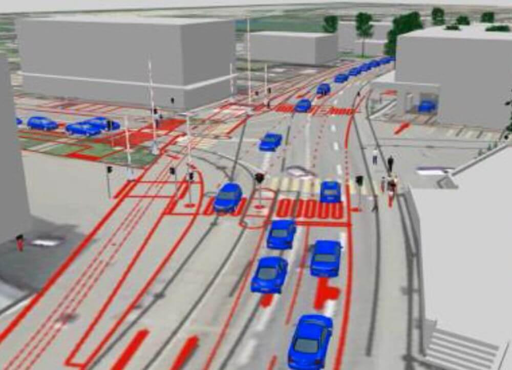 Simulation T-Knoten mit LSA 2030, Unterkulm / VISSIM