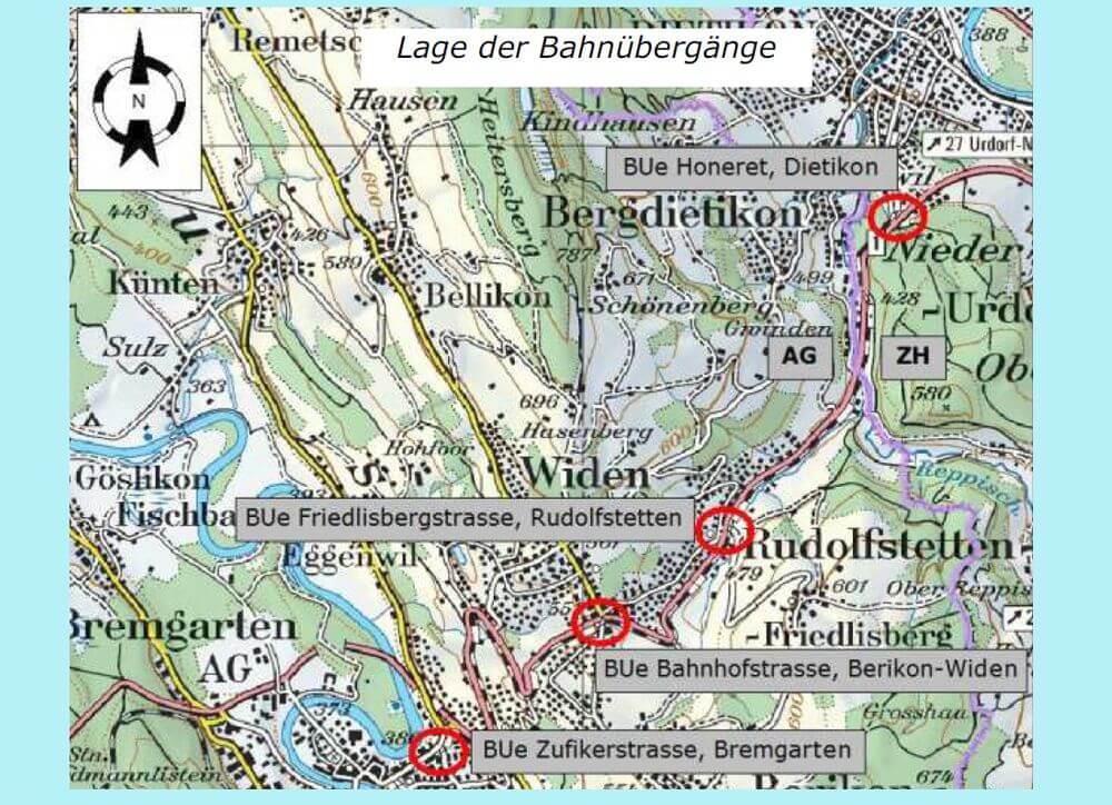 Sanierung Bahnübergänge Bremgarten AG / Kreuzung Schiene Strasse